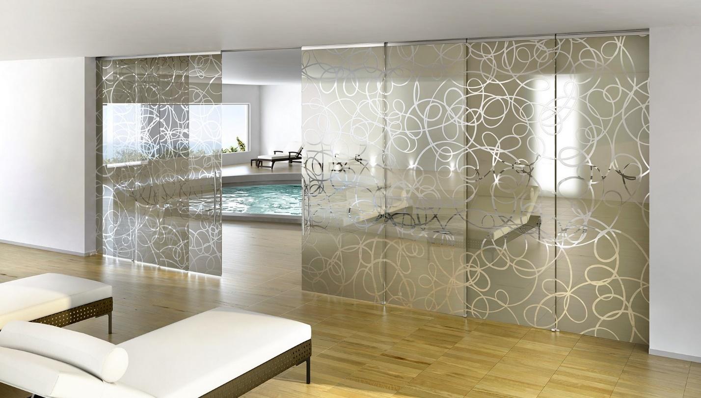 Раздвижные стеклянные межкомнатные перегородки - примеры